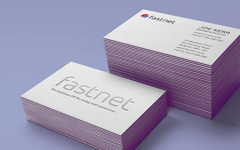 fastnet branding shown on business cards