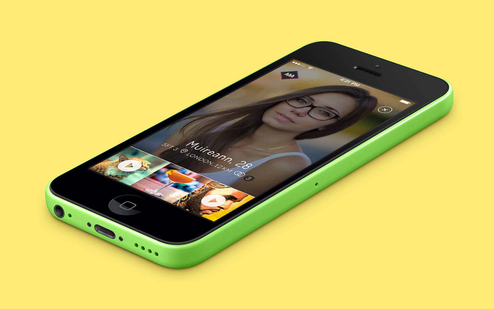 hhhello mobile app iphone design - tinder style social app