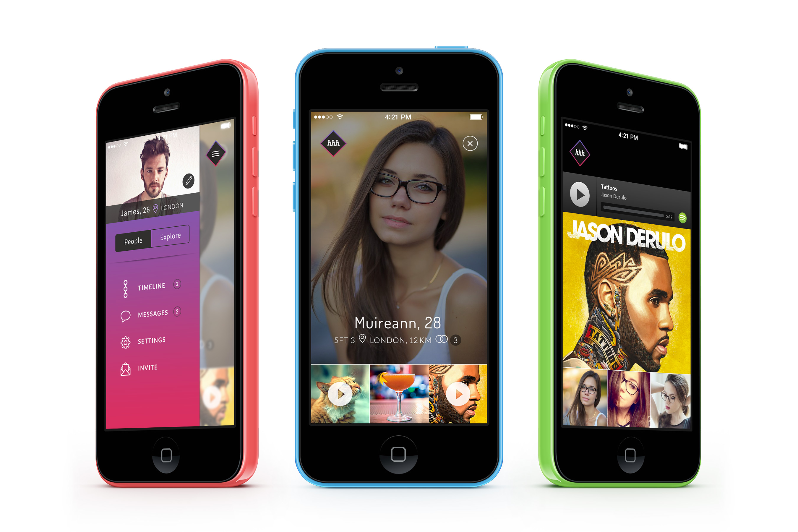 hhhello mobile app iphone design - tinder style social app 3 screens shown on iphone 5c's