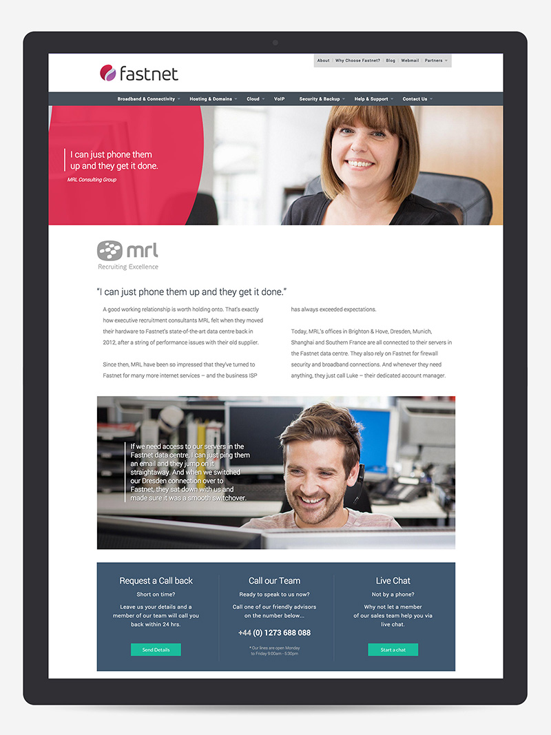 Customer testimonials on fastnet responsive website ISP Brighton