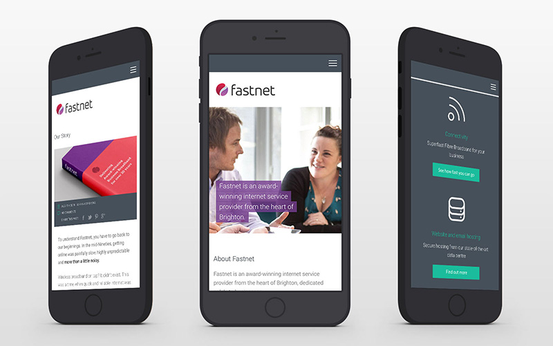 Responsive designs presented in phone mockup for Fastnet b2b internet provider