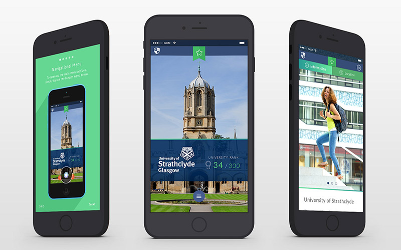 user interface designs for global university match mobile application
