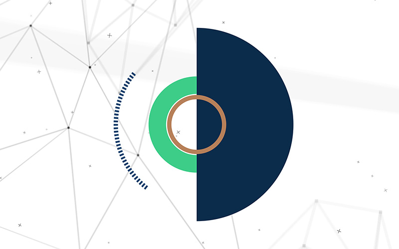 Still from what is semiotics interactive experience for space doctors semiotics and insight agency - blue green and gold circles and particle background