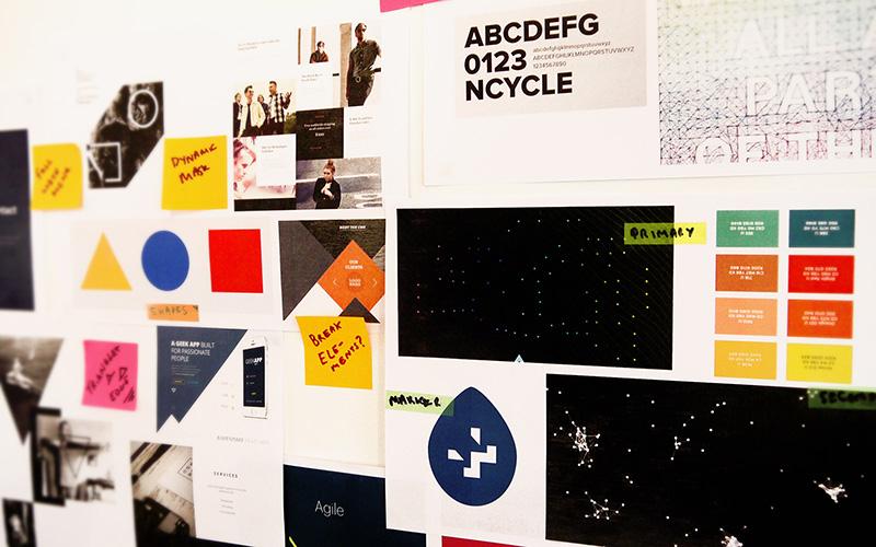 Work in progress moodboard for space doctors semiotics agency website design