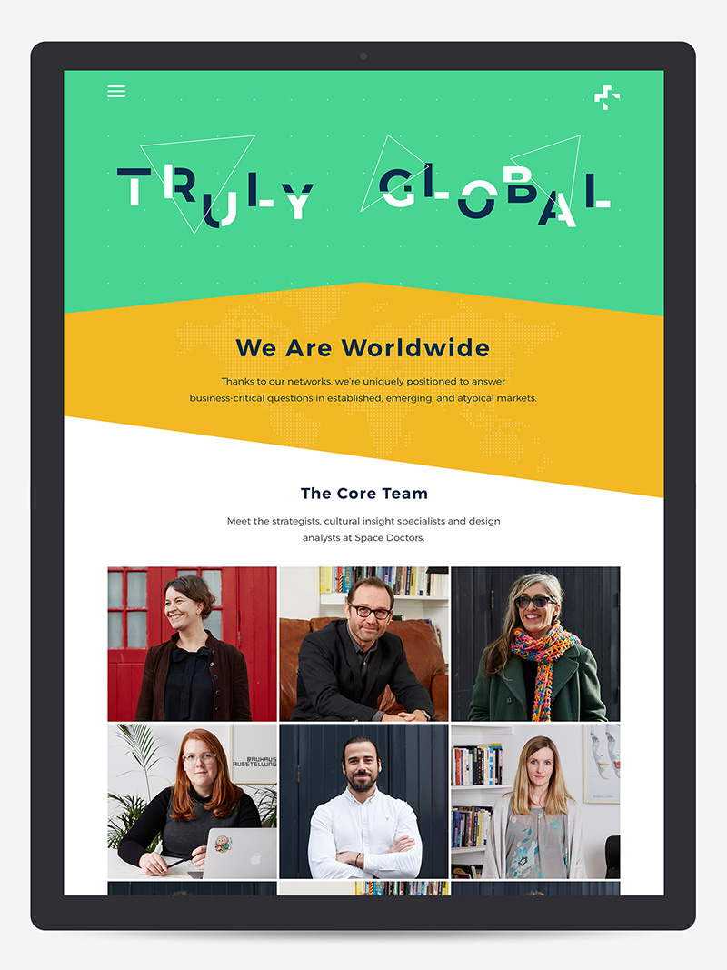Space doctors team page design from responsive website for semiotic and strategic cultural insight agency