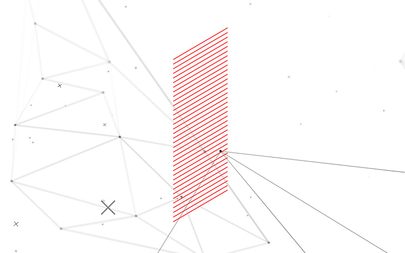 Still from what is semiotics interactive experience for space doctors semiotics and insight agency - red lines rectangle triangle and particle background