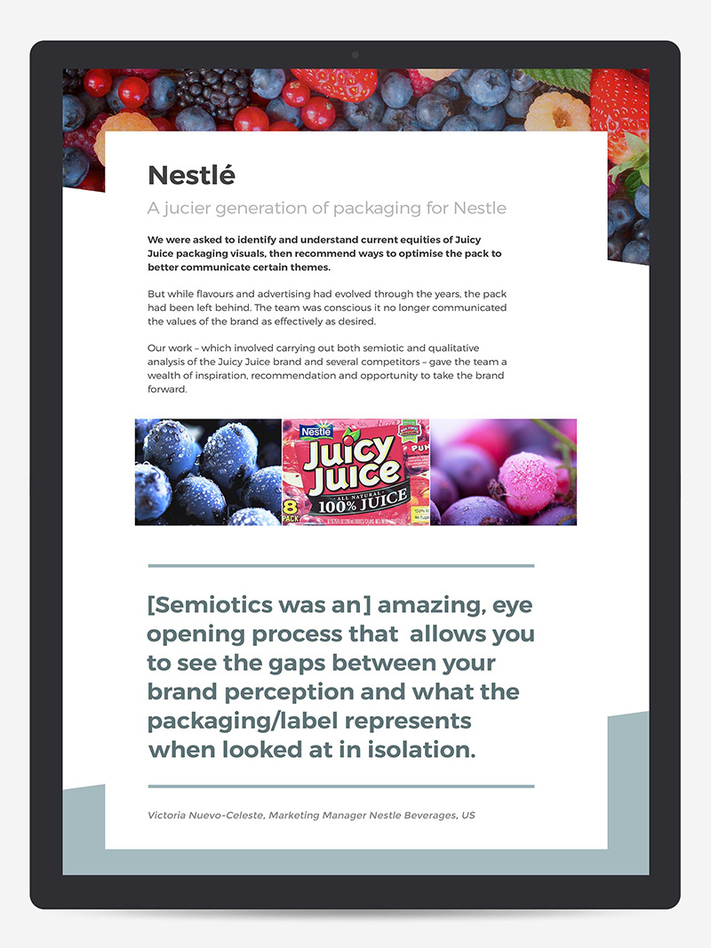 Responsive website design case study article page for Nestlé from space doctors semiotic and strategic cultural insight agency