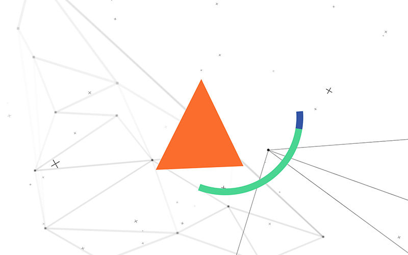 Still from what is semiotics interactive experience for space doctors semiotics and insight agency - Orange triangle and particle background